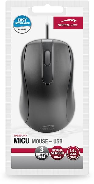 Speedlink MICU Mouse, 3-Tasten-Maus - USB, schwarz - zum Schließen ins Bild klicken