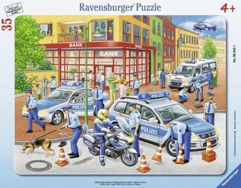 Großer Polizeieinsatz. Rahmenpuzzle 35 Teile - zum Schließen ins Bild klicken