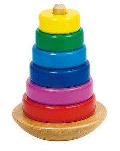 Goki 58925 - Stapelturm, bunt aus Holz, 7-teilig