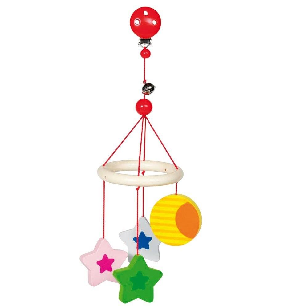 Goki 760020 - Mini-Trapeze Mond und Stern, Holz, 20cm - zum Schließen ins Bild klicken
