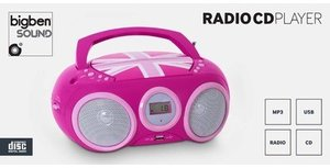 CD-Radio/MP3-Player, CD32, tragbar, Union Jack - pink