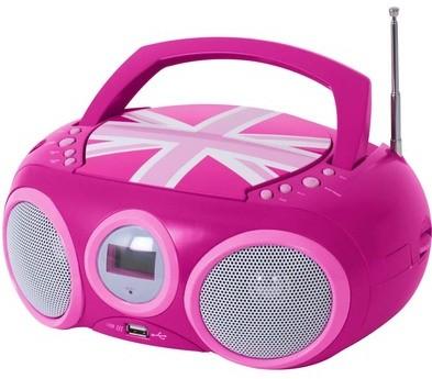 CD-Radio/MP3-Player, CD32, tragbar, Union Jack - pink - zum Schließen ins Bild klicken