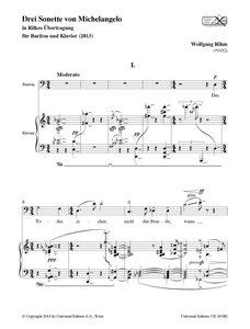 Drei Sonette von Michelangelo für Bariton und Klavier