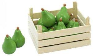 10 Birnen in Holzkiste für Kaufladen