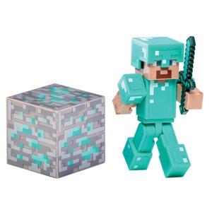 Minecraft - DIAMOND STEVE mit Erzblock, bewegliche Sammelfigur m