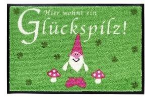Fussmatte waschbar Glückspilz, rosa, grün 75x50cm