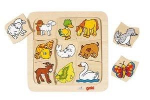 Goki 56879 - Legespiel: Wer gehört zu wem? 9-teilig aus Holz