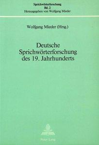 Deutsche Sprichwörterforschung des 19. Jahrhunderts