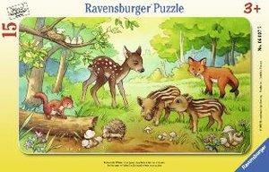 Tierkinder des Waldes. Rahmenpuzzle 15 Teile