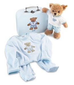 Steiff 239564 - Geschenkset: Schlaf-gut-Bär im Koffer, blau, 25