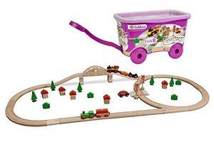 Eichhorn Bahnset mit Brücke, in Box auf Rädern, Holzeisenbahn mi