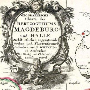 Historische Karte: HERZOGTUM MAGDEBURG mit Halle und Fürstentum