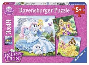 Palace Pets - Belle, Cinderella und Rapunzel. Puzzle 3 X 49 Teil