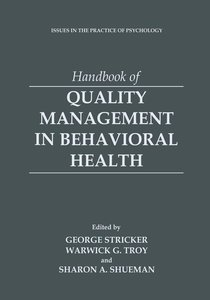Handbook of Quality Management in Behavioral Health