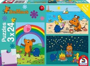 Die Maus, Gute Freunde. 3 x 24 Teile Puzzle