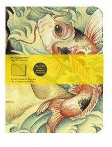 Moleskine Cover Art Carp Fish. Set of 2 Squared Journals