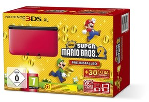 Nintendo 3DS XL Konsole - rot inkl. New Super Mario Bros. 2