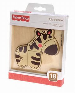 FisherPrice 32506 - Holzpuzzle Zebra, 4 Teile