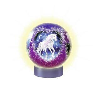 Nachtlicht Magische Einhörner. 3D Puzzle-Ball 72 Teile