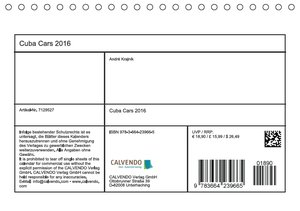 Cuba Cars (Tischkalender 2016 DIN A5 quer)
