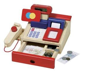 Goki 51807 - Kaufmannsladenkasse mit Taschenrechner, Holz