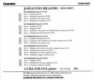 Intermezzos op.76,116,117,118