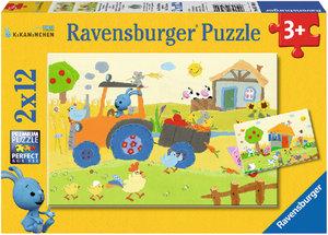 Kikaninchen auf dem Bauernhof. Puzzle 2 X 12 Teile