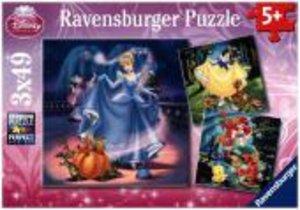 Schneewittchen, Aschenputtel, Arielle. Puzzle 3 X 49 Teile