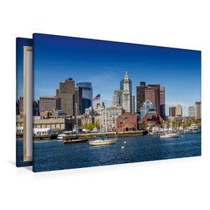 Premium Textil-Leinwand 120 cm x 80 cm quer BOSTON Skyline