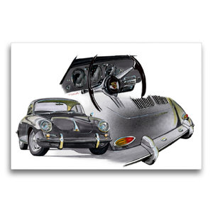 Premium Textil-Leinwand 75 cm x 50 cm quer Porsche 356 C
