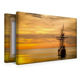 Premium Textil-Leinwand 45 cm x 30 cm quer Boot im Sonnenunterga