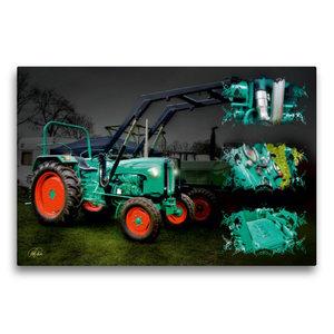 Premium Textil-Leinwand 75 cm x 50 cm quer Oldtimer Traktor Kram
