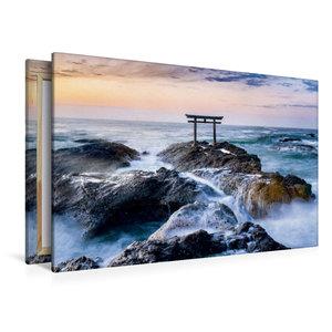 Premium Textil-Leinwand 120 cm x 80 cm quer Japanisches Torii am