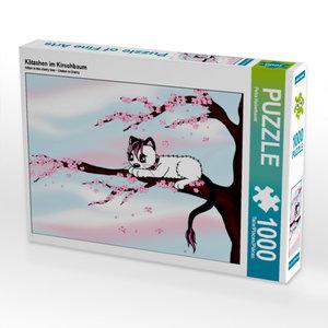 CALVENDO Puzzle Kätzchen im Kirschbaum 1000 Teile Lege-Größe 64