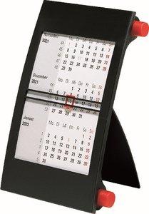 rido Tischkalender 2021, 3-Monatskalender Drehknopf rot