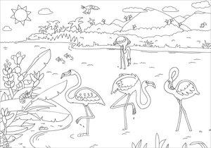 Glitzer-Sticker-Malbuch. Flamingos