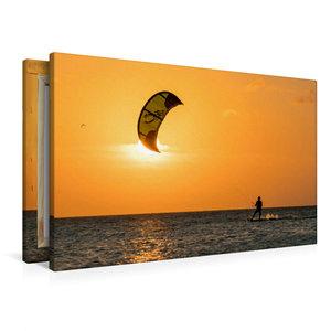 Premium Textil-Leinwand 90 cm x 60 cm quer Kitesurfen in den Son