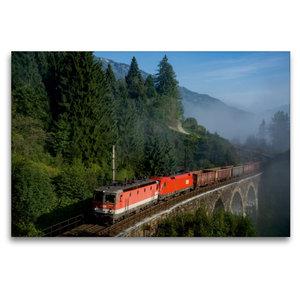 Premium Textil-Leinwand 120 cm x 80 cm quer Nebel am Tauern