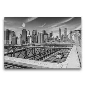 Premium Textil-Leinwand 75 cm x 50 cm quer BROOKLYN BRIDGE Blick