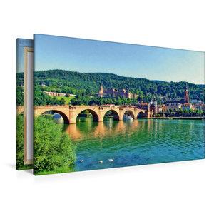 Premium Textil-Leinwand 120 cm x 80 cm quer Schloss Heidelberg u