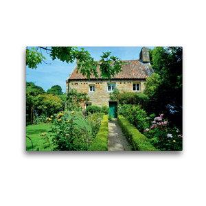 Premium Textil-Leinwand 45 cm x 30 cm quer Haus mit Garten auf J