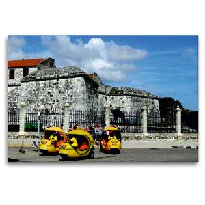 Premium Textil-Leinwand 120 cm x 80 cm quer Coco-Taxis in Havann