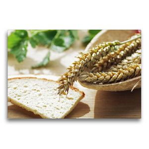 Premium Textil-Leinwand 75 cm x 50 cm quer Frisches Getreide zum
