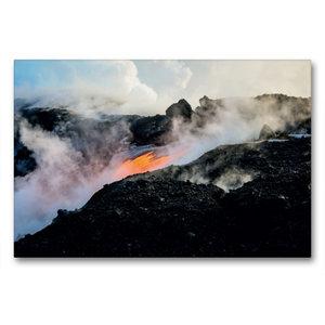 Premium Textil-Leinwand 90 cm x 60 cm quer Lava erreicht den Paz