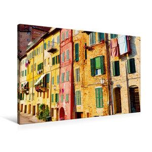 Premium Textil-Leinwand 90 cm x 60 cm quer Bunte Häuser
