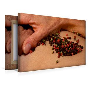 Premium Textil-Leinwand 45 cm x 30 cm quer Pfeffer grün/schwarz/