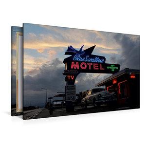 Premium Textil-Leinwand 120 cm x 80 cm quer Blue Swallow Motel,