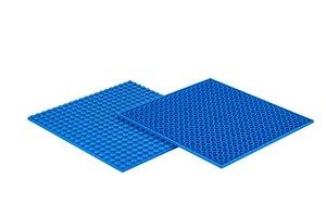 4x Bauplatte blau 20x20 Noppen, 16x16xcm - Basis für Spielzeugba