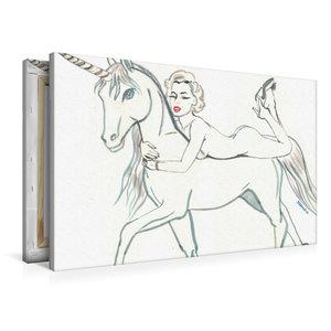 Premium Textil-Leinwand 90 cm x 60 cm quer das Marylin unicorn,