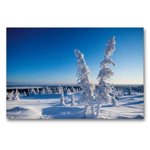 Premium Textil-Leinwand 90 cm x 60 cm quer Kalter Schnee in Kare